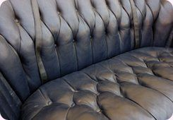 Button covering - Chatteris - CA & NC Pedlar Upholstery - black leather couch