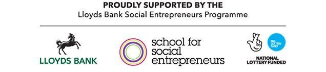 three logos - lloids bank, school for social entrepreneurs and national lottery funded