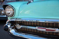A close up of a Classic American car