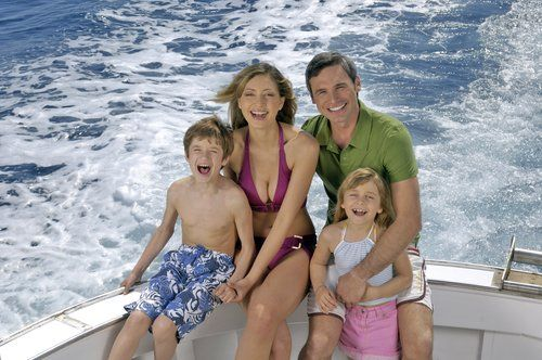 Family on the boat