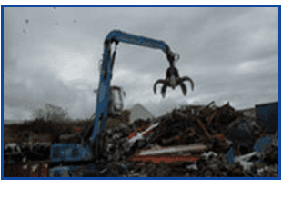 crane moving scrap metals