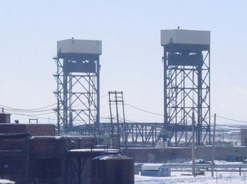 Long Distance View of Steel Lift Bridge