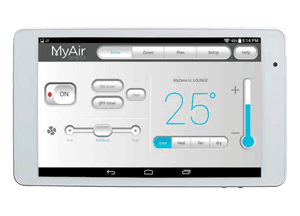 myair interface on white mobile phone