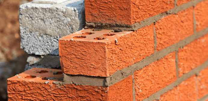 partly constructed brick wall with flush finished pointing