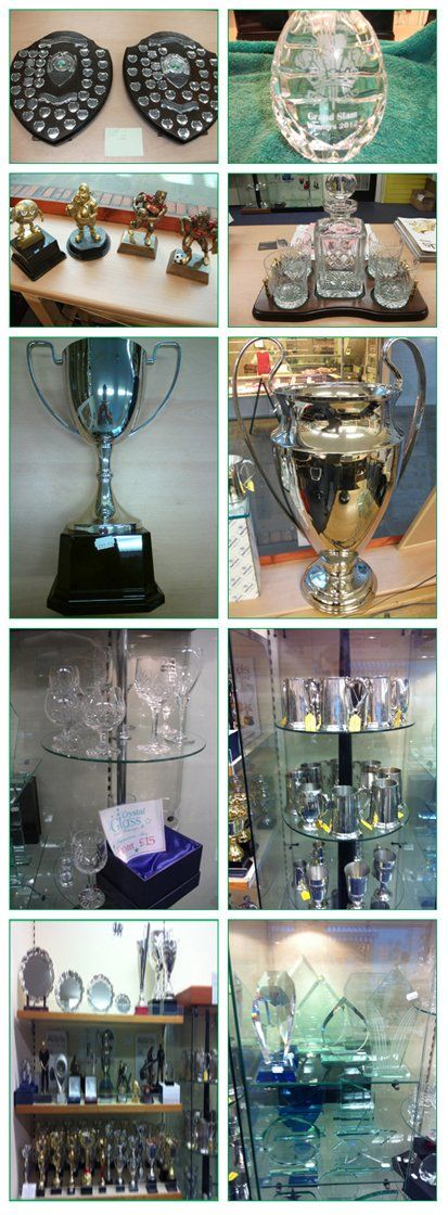 A selection of trophies in pewter, wood, silver and glass