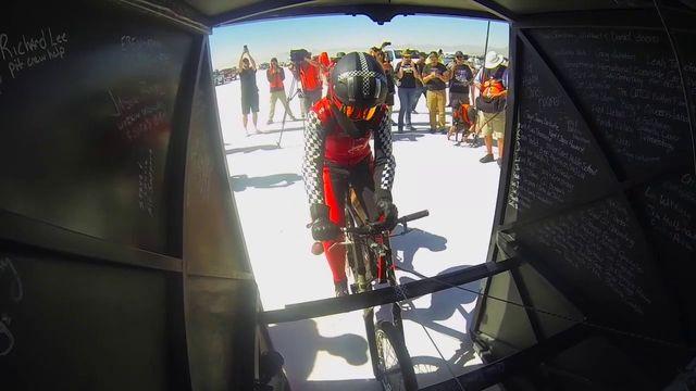 Fastest bicycle speed in slipstream world record: Denise Mueller-Korenek