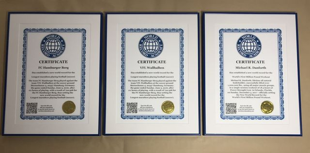 World Record Certificate from the Academy of World Records