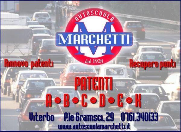 Locandina pubblicitaria Autoscuola Marchetti viterbo