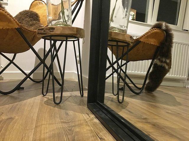 Spiegel Staand Zwart : Stalen spiegel