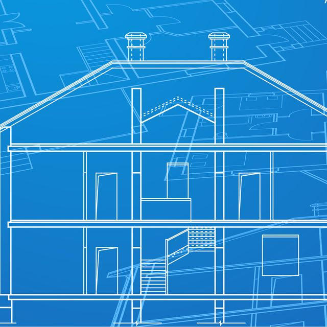 A blueprint of a house remodeling project