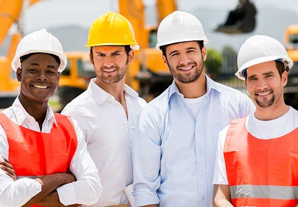 Group of male construction workers