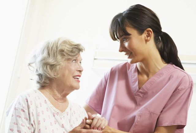 Elderly woman satisfied with our nursing care