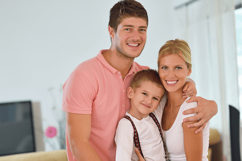 picture of a young family of three people