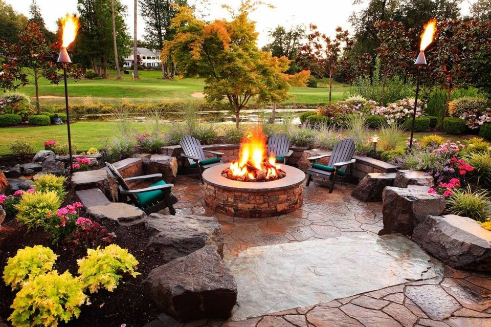 outdoor firepit and lawn chairs