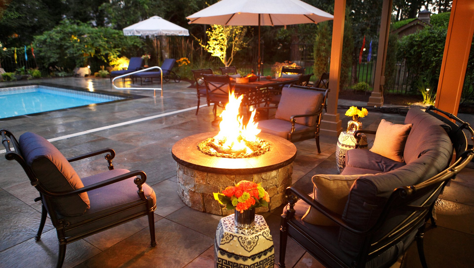 classic blue patio furniture and firepit
