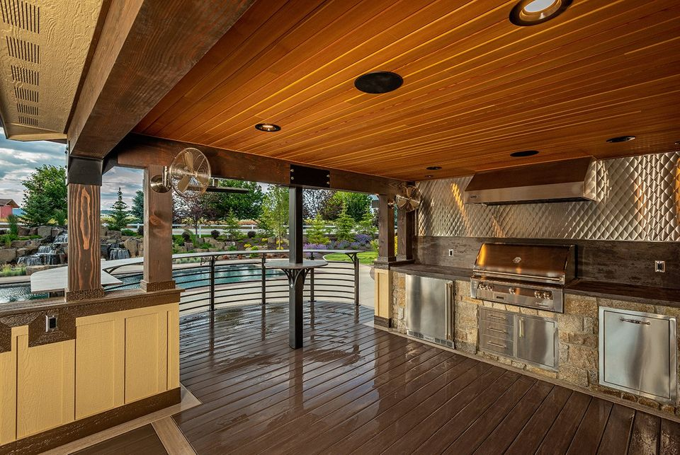 outdoor covered kitchen and deck