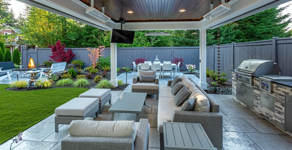 outdoor structure in backyard resort with fire pit and paver patio