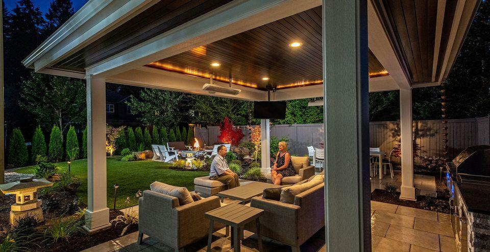 outdoor structure night lighting Redmond yard