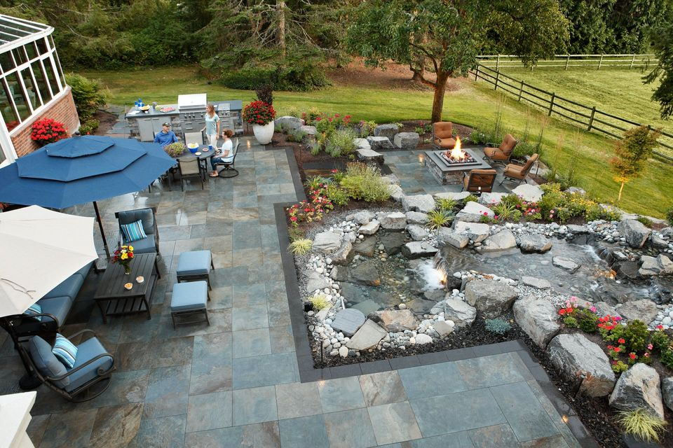 backyard outdoor paver and waterfall exterior