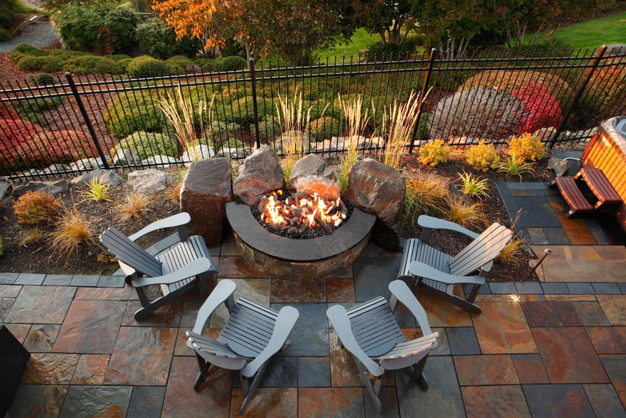 outdoor fire pit half-circle