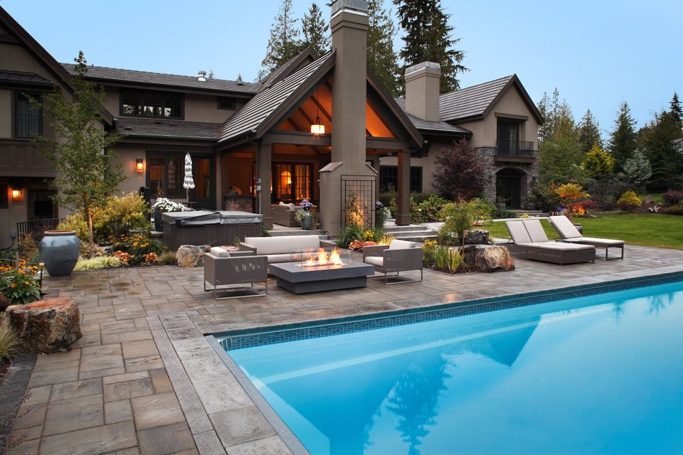 outdoor retreat with pool and fire pit