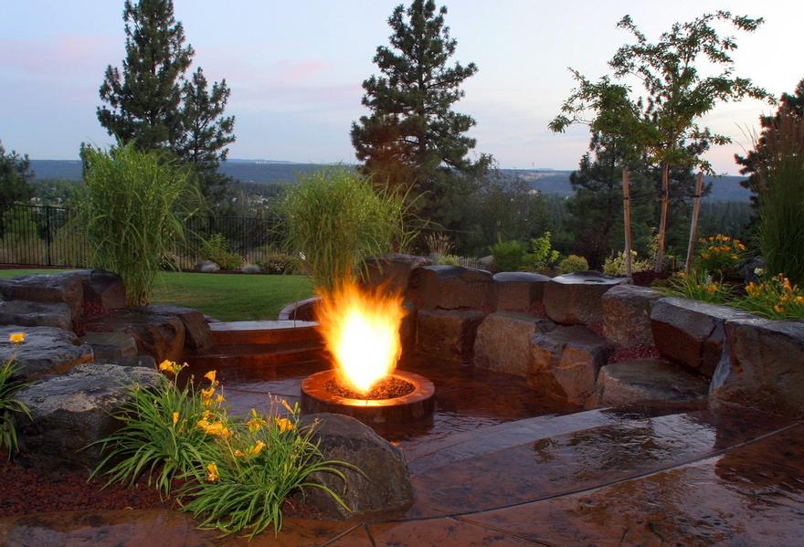 outdoor fire rocks fire pit
