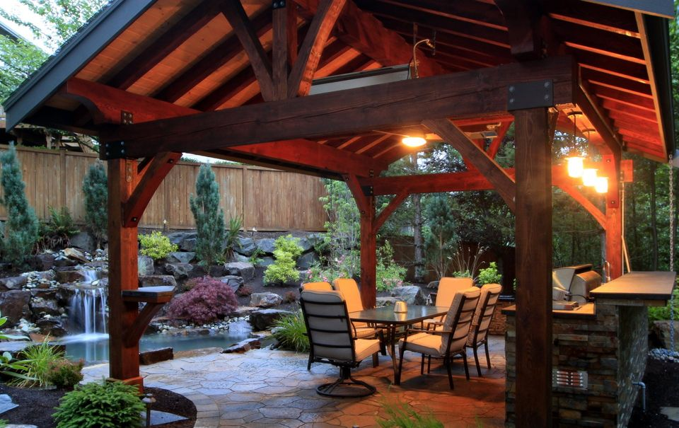 outdoor structure in suburban backyard oasis