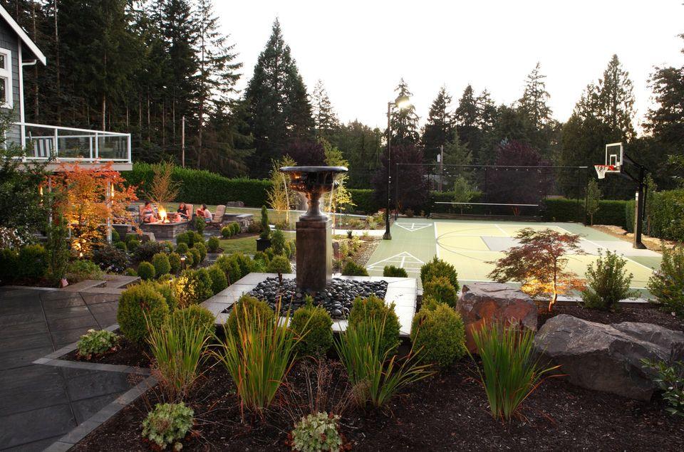 outdoor kids yard , sports court fireplace