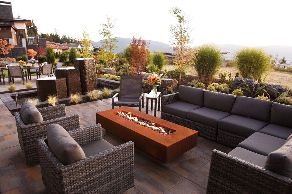 backyard resort separate fireplace lounge area