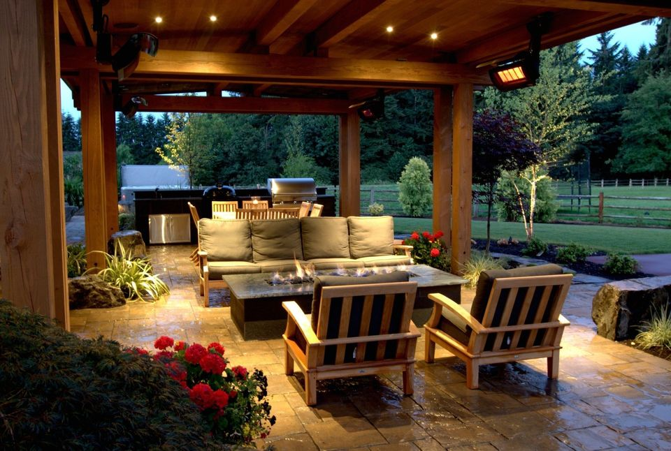 Fire Table in Backyard Resort