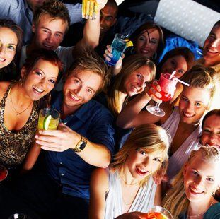drinkers raising a glass
