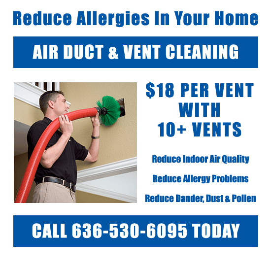Air duct being cleaned by professional in Chesterfield