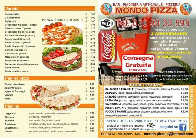 Menu pizza e piadine