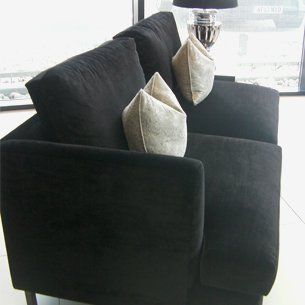 black suede sofa