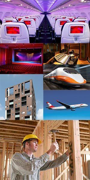 Interno aereoplano e vari ambienti isolati acusticamente