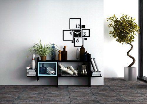 Originale scaffale,orologio quadrati