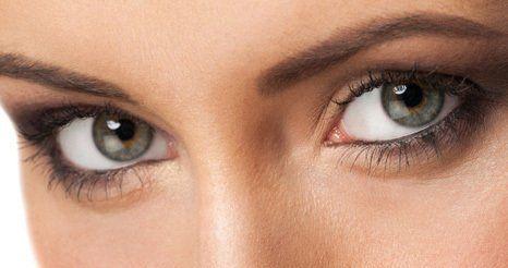 close up of female model's eyes