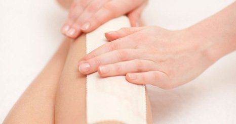 waxing a leg