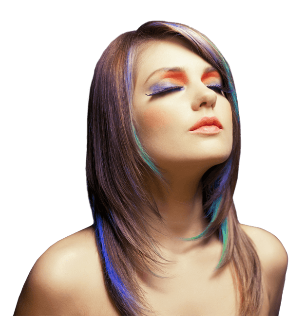 female model in multi-coloured hair and makeup