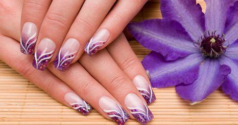 purple themed nails