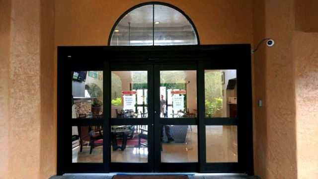 Image Of Newly Installed Glass Doors On A Jacksonville, FL Hotel Lobby