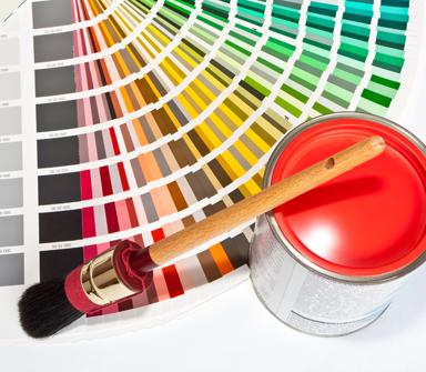 scheda gamma colori con pennello e latta