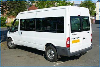 long wheelbase white minibus
