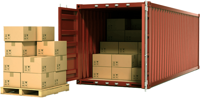 A shipping container being packed for export