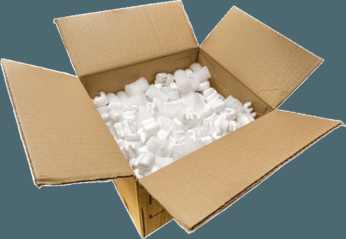 A cardboard box filled with foam pellets