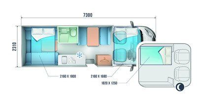 auto roller 746 motorhome for hire layout