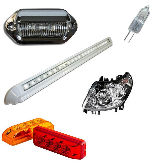 exterior lights and lighting for motorhomes, caravans and motorcaravans, repalcement parts and bulbs, head lights, supplied and fitting service