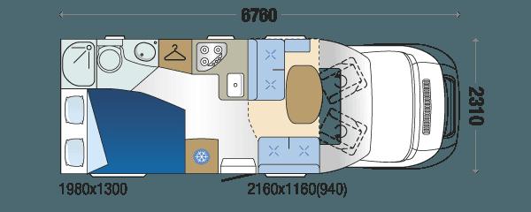 motorhome hire 4 berth auto roller 694