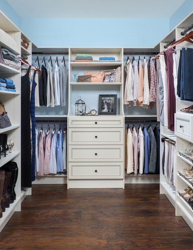 Antique White Custom Walk In Closet System