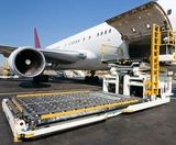 A plane awaiting goods to be loaded for carriage